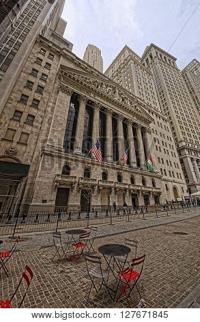 Street View On New York Stock Exchange On Wall Street