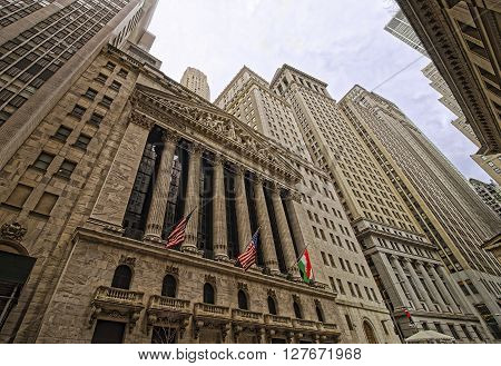 NEW YORK USA - APRIL 24 2015: New York Stock Exchange on Wall Street Lower Manhattan USA. It is called NYSE in short.