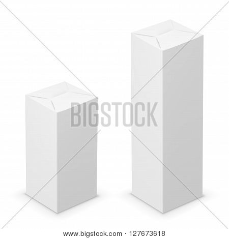 Vector white tall folded box design template. Illustration on white background