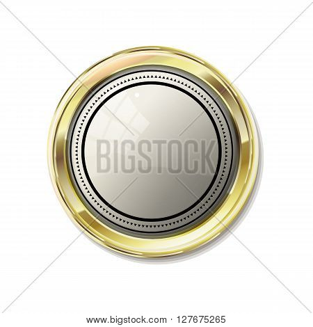 Vip abstract gold label. Reliability and comfort. White glossy stone in gold. Vector vintage label for text on white background