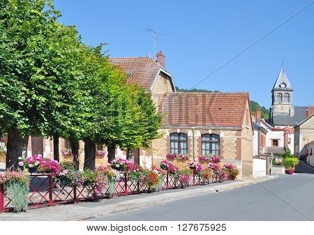 idyllic Flower Village in Champagne Region near Epernay,Champagne-Ardennes,France