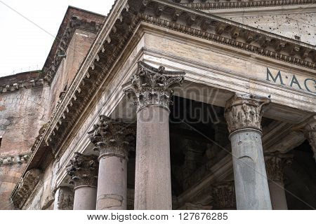 ROME, ITALY - APRIL 8, 2016: Pantheon fronton and columns