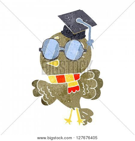 cute freehand drawn retro cartoon well educated bird