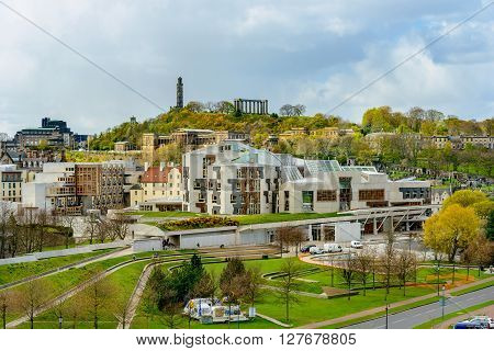 EDINBURGH SCOTLAND - APRIL 27 2016: The Scottish Parliament building in Holyrood Park in Edinburgh.