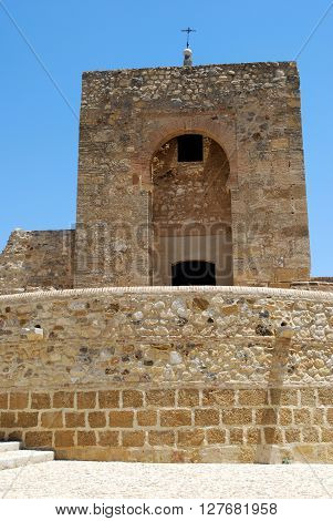 View of the Moorish tower behind the castle Antequera Malaga Province Andalucia Spain Western Europe.
