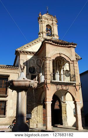View of St James church with a fountain in the foreground (Iglesia de Santiago) Antequera Malaga Province Andalucia Spain Western Europe.