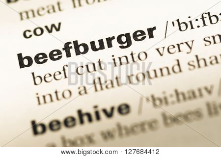 Close Up Of Old English Dictionary Page With Word Beefburger.