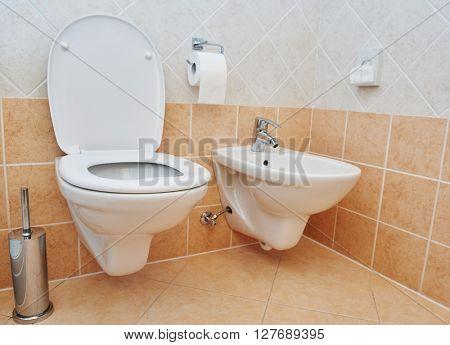 toilet sanitary sink or bowl bidet and paper