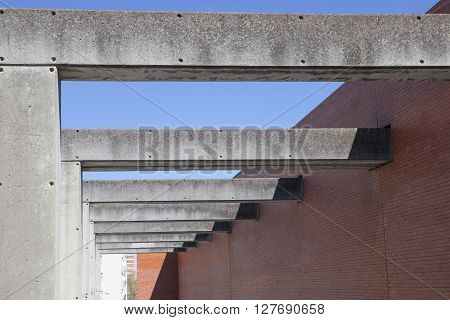 Badajoz Spain - April 1: MEIAC Museum building on April 1 2016 in Badajoz Spain. Situated on the area of the former prison of Badajoz redesigned by JA Galea. Concrete pillars