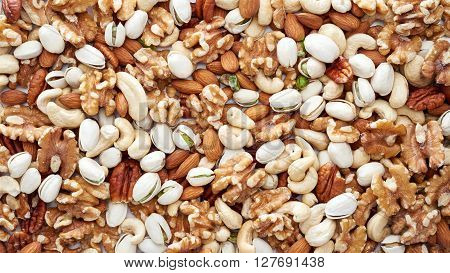 Healthy mixed nuts - almonds cashew nut walnut pistachio and pecan