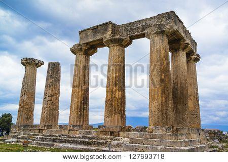 Temple of Apollo in Ancient Corinth Greece