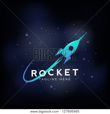 Rocket Space Ship Abstract Vector Sign, Icon or Symbol. Cosmic Background with Stars. Science, Startup, Launch Logo Template.