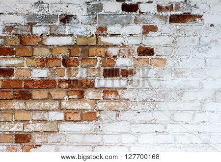 Old chipped white brick wall texture background whitewashed grungy brick wall with peeling plaster layer abstract red white vintage background