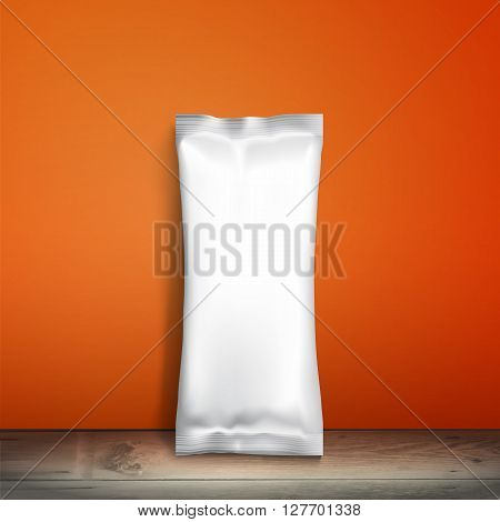 Blank white 3d packaging. Sample package. Blank template for design. Net packaging is on shelf. Mockup Foil Food Snack pack, packaging or wrapper. Plastic Pack Template for design and branding