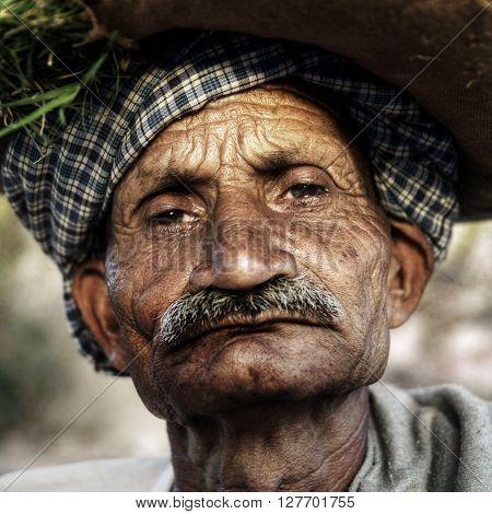 Indigenous Senior Indian Man Grumpy Close-Up Concept