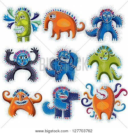 Set Of Character Monsters Vector Flat Illustration, Collection Of Cute Mutants. Drawing Of Weird Bea