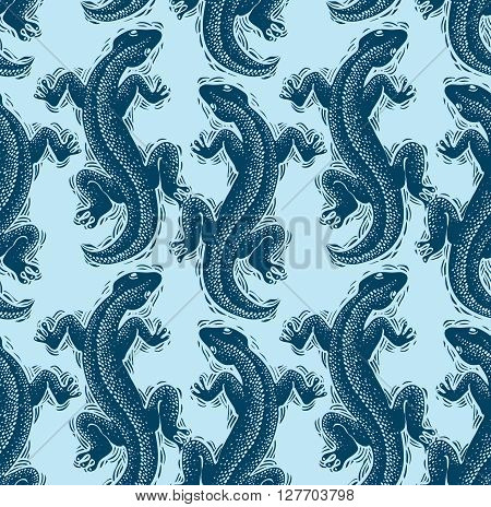 Vector Lizards Wrapping Paper, Seamless Pattern With Reptiles, Art Zoology Wallpaper. Stylized Lizar