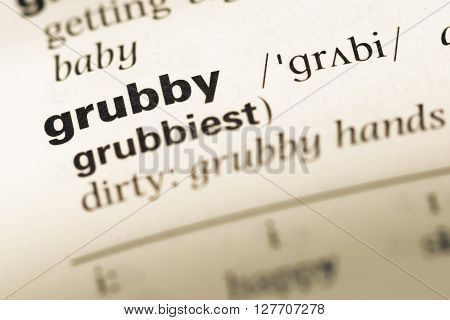 Close Up Of Old English Dictionary Page With Word Grubby.