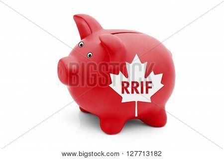 Registered Retirement Income Fund in Canada A red piggy bank with a white Canadian maple leaf flag and text RRIF isolated on white