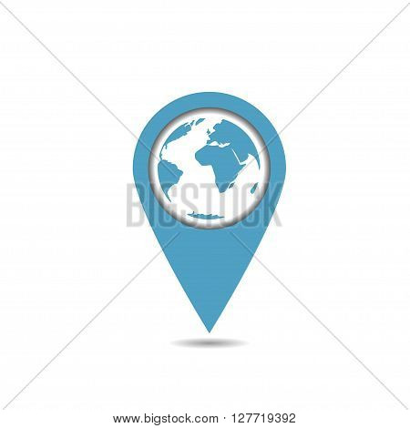 Blue world map pointer. Earth shape. Abstract world map. Vector illustration