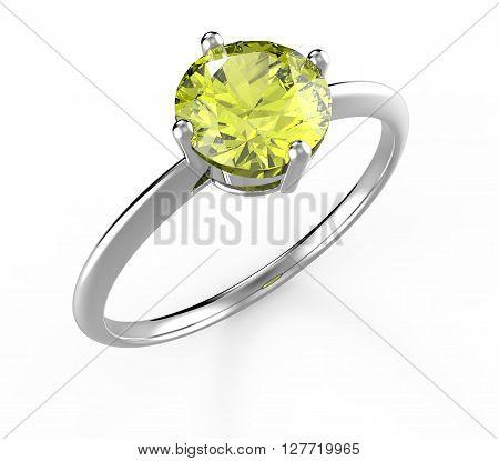 Wedding ring with diamond isolated on white background. Fashion jewelery. 3d digitally rendered illustration