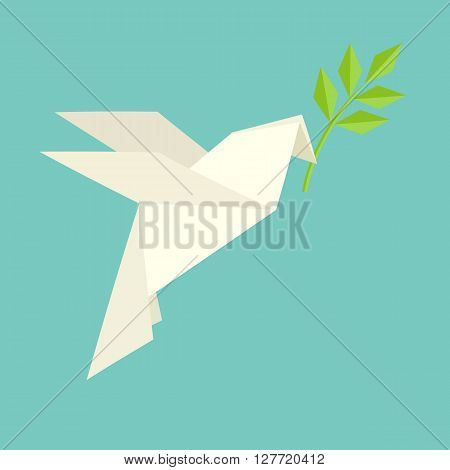 Origami dove flies and carries a twig.International day of peace. Vector illustration of white origami dove with olive branch.Flat design style