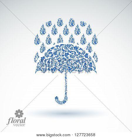 Beautiful Flower-patterned Umbrella Under Rain Drops. Stylized Accessory, Parasol, Rainy Weather Gra