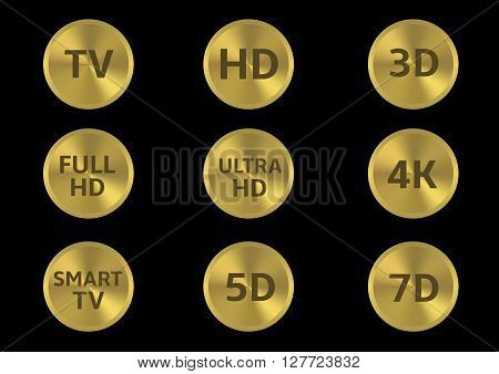 Golden tv format labels. TV HD 3D 4K 5D 7D Full HD Smart TV Ultra HD