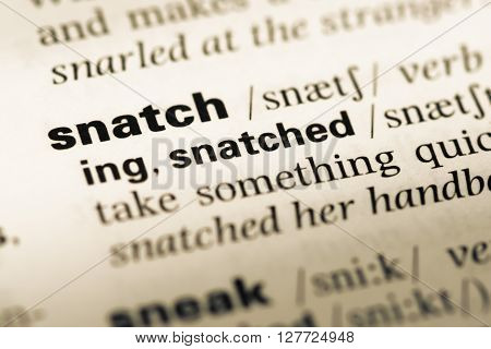 Close Up Of Old English Dictionary Page With Word Snatch.