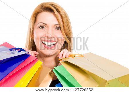 Face Of A Beautiful Smiling Shopping Woman