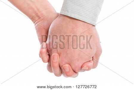 Male and female hands together isolated on white backrgound