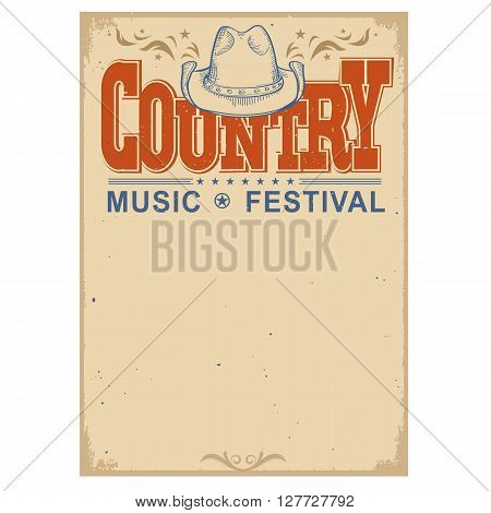Poster Music Festival Background With Cowboy Hat.vector Isolated Poster On White