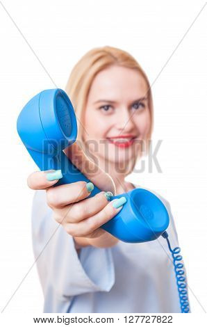 Woman Doctor Holding A Telephone