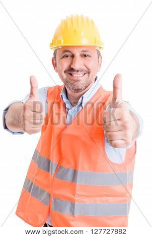 Happy builder showing thumbsup on white background
