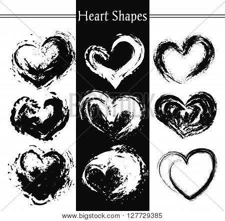 Set of nine artistic hearts. Heart Shapes. Heart Retro Shape.Heart Label Shape.Grunge Heart Shape.Heart Ribbon Shape.Heart Vintage Shape.Heart Icon Shape.Heart Banner Shape.