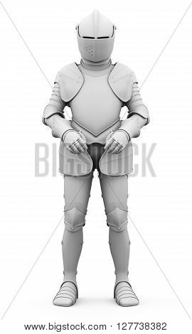 Knight in armor isolated on white background. Metal armor. Matte armor. Medieval armor. 3d render image