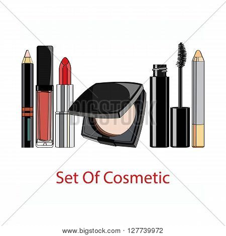set of decorative cosmetics - powder, lipstick, lip gloss, mascara, lip liner, Concealer pencil. vector illustration for cosmetic banners, brochures and promotional items