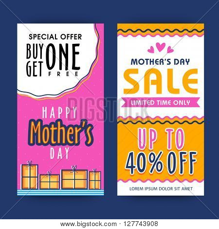 Colorful Sale Web Banners, Special Offer Buy one get one Free, Discount upto 40% Off, Limited Time Offer for Happy Mother's Day celebration.
