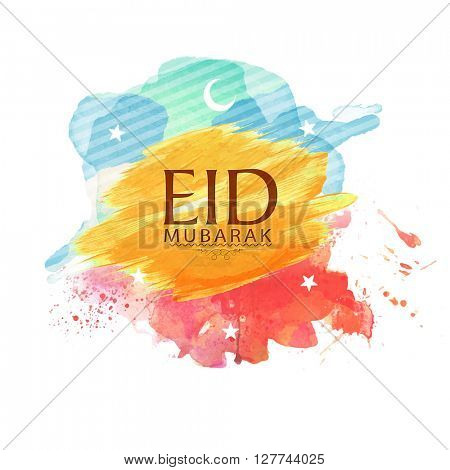 Muslim Community Festival, Eid Mubarak celebration with crescent Moon and Stars on colourful paint stroke background.