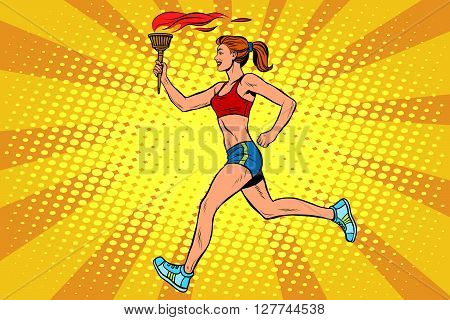 The girl athlete torchbearer sports fire. Torch relay. Summer sports games. Vector athlete. pop art retro style