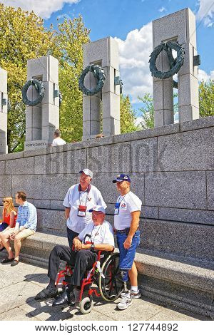 Veterans At Pillars On National World War 2 Memorial