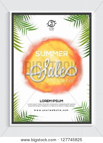 Summer Sale Flyer, Sale Banner, Sale Poster, Upto 60% Off. Vector illustration with green leaves.