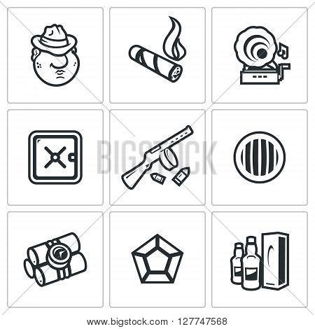 Criminal, Cigar, Gramophone, Safe, Machine gun, Headlight, Dynamite, Diamond, Alcohol