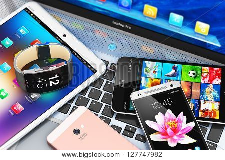 3D render illustration of modern mobile devices - black glossy touchscreen smartphone or mobile phone, tablet computer PC, laptop or notebook and smartwatch or clock or fitness tracker with colorful screen interfaces with icons and buttons
