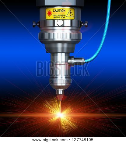 3D render illustration of the macro view of industrial digital CNC - computer numerical control CO2 invisible laser beam cutter machine cutting stainless steel sheet with lot of bright shiny sparkles