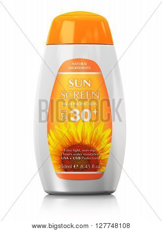 3D render illustration of the orange sun skin care protection plastic cosmetic bottle or container isolated on white background with reflection effect