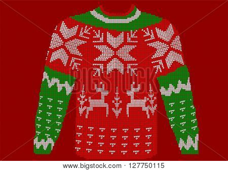 christmas jumper on red background. 10 EPS