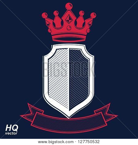 Empire design element. Heraldic royal coronet illustration, imperial striped decorative coat of arms. Luxury vector shield with king red crown
