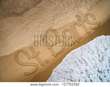 St Barts written on the beach