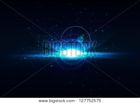 Abstract digital space background . realistic rays and highlights , wallpaper , space . Vector orion , earth . Bright lens flares on space background .Realistic light glare . Lighting effects Galaxy illustration . Flash at space